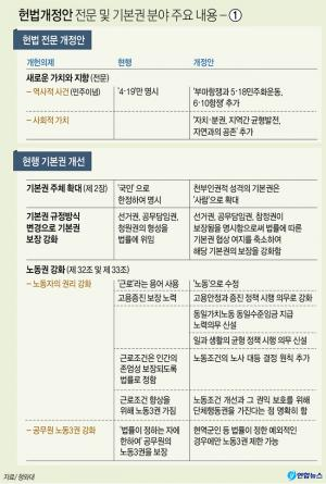 <font color='#0000ff'>[그래픽] 헌법개정안 전문 및 기본권 분야 주요 내용 - ①</font>