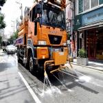 울산 폭염경보, 도로 위에 물뿌리는 살수차
